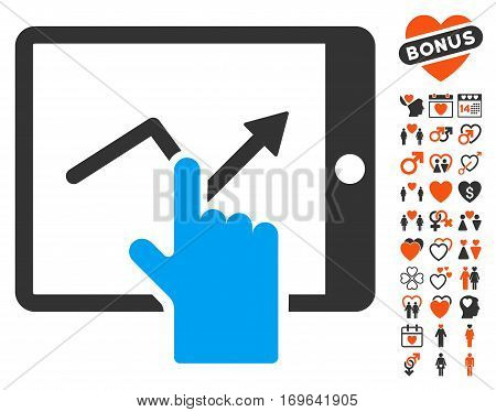 Tap Trend On PDA pictograph with bonus decorative icon set. Vector illustration style is flat iconic symbols for web design app user interfaces.