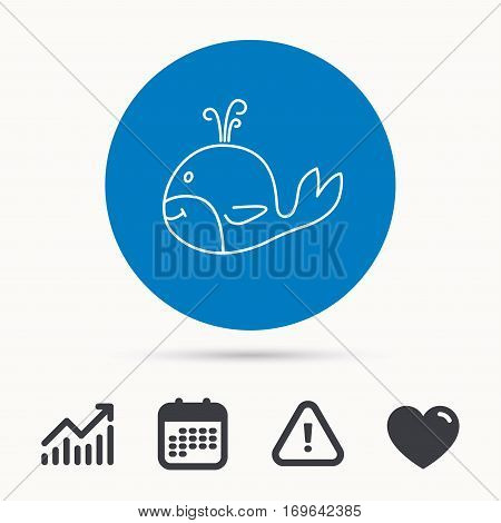 Whale icon. Largest mammal animal sign. Baleen whale with fountain symbol. Calendar, attention sign and growth chart. Button with web icon. Vector