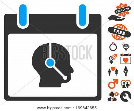 Telemarketing Operator Calendar Day pictograph with bonus love pictograph collection. Vector illustration style is flat iconic elements for web design app user interfaces.