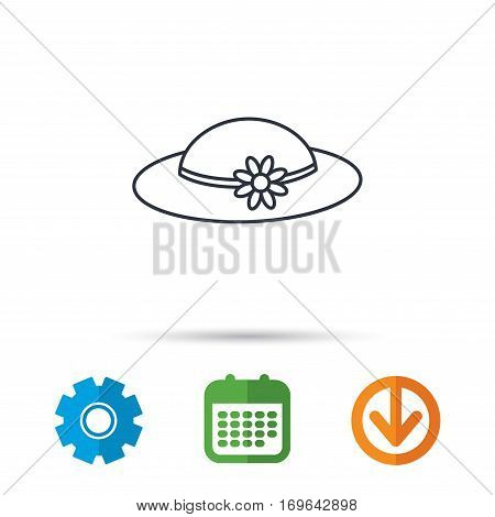 Female hat with flower icon. Women headdress sign. Calendar, cogwheel and download arrow signs. Colored flat web icons. Vector
