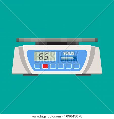 Digital kitchen scales. Vector illustration in flat style