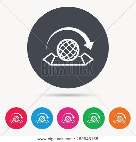 World map icon. Globe with arrow sign. Travel location symbol. Colored circle buttons with flat web icon. Vector