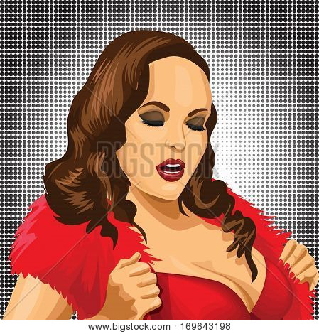 Sexy pop art woman portrait. Pin-up hand drawn vector illustration background.