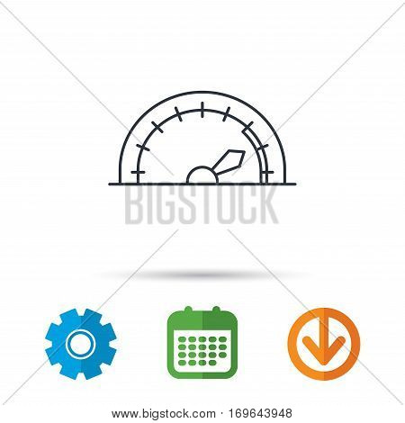 Speedometer icon. Speed tachometer with arrow sign. Calendar, cogwheel and download arrow signs. Colored flat web icons. Vector