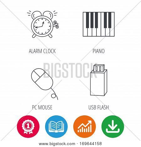 Alarm clock, USB flash and PC mouse icons. Piano linear sign. Award medal, growth chart and opened book web icons. Download arrow. Vector