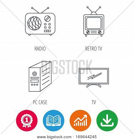 Retro TV, radio and PC case icons. Computer linear sign. Award medal, growth chart and opened book web icons. Download arrow. Vector