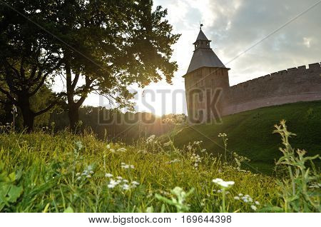Architecture landscape - Savior tower of Veliky Novgorod Kremlin Russia. Veliky Novgorod Russia is one of the ancient cities in Russia