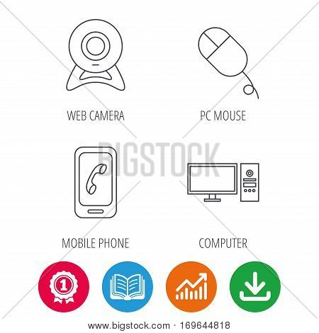 Computer, web camera and mobile phone icons. PC case linear sign. Award medal, growth chart and opened book web icons. Download arrow. Vector