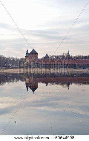 Novgorod Kremlin at the spring sunset in Veliky Novgorod Russia. Architecture landscape of Veliky Novgorod Russia landmarks.