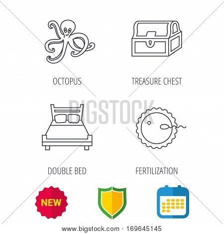 Fertilization, double bed and octopus icons. Treasure chest linear signs. Shield protection, calendar and new tag web icons. Vector