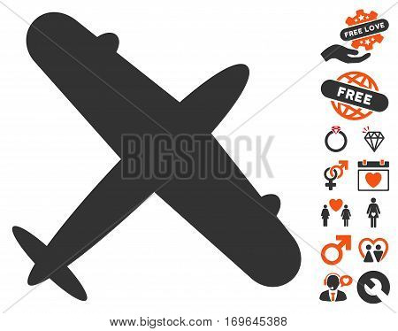 Aeroplane icon with bonus decorative pictures. Vector illustration style is flat iconic symbols for web design app user interfaces.