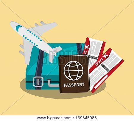 briefcase, board ticket, aiplane and passport icon over yellow background . travel and tourism concept. colorful design. vector illustration