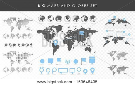 Big Set Of Maps And Globes. Pins Collection. Different Effects. Transparent Vector Illustration