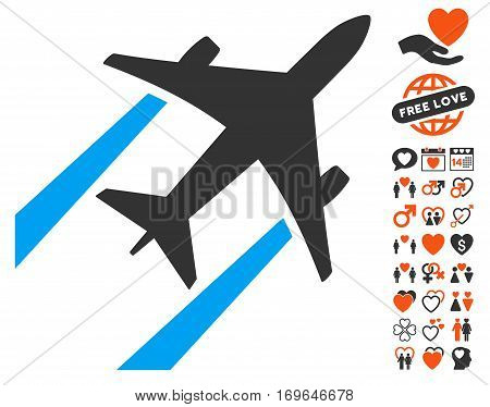 Air Jet Trace pictograph with bonus decoration graphic icons. Vector illustration style is flat iconic symbols for web design app user interfaces.