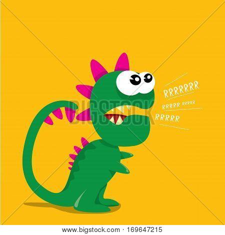 Vector cartoon funny dragon. Cartoon cute monster Dinosaur.