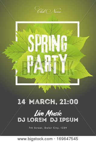 Spring Night Club Party Flyer Invitation Vector Illustration. Poster Template. Black And Green Backg