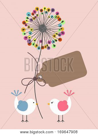 Scalable vectorial image representing a cute birds with dandelion background greeting.