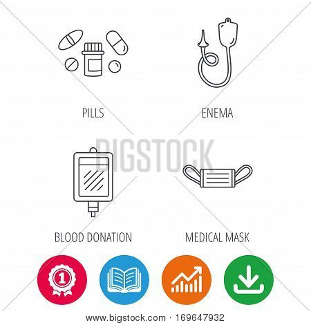 Medical mask, blood and pills icons. Enema linear sign. Award medal, growth chart and opened book web icons. Download arrow. Vector