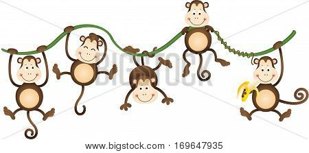 Scalable vectorial image representing a monkeys hanging on jungle, isolated on white.
