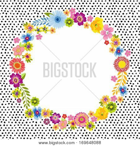 Scalable vectorial image representing a vintage card with a round flower frame, isolated on white.