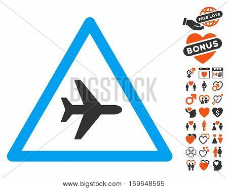 Airplane Danger icon with bonus decorative images. Vector illustration style is flat iconic symbols for web design app user interfaces.
