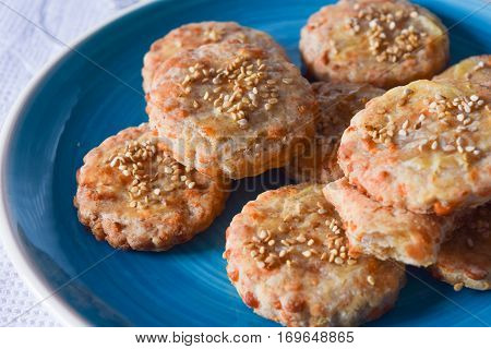 delicious biscuits with Pecorino cheese from Sardinia