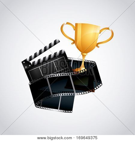 trophy, clapboard and reel tape icon over white background. colorful design. vector illustration