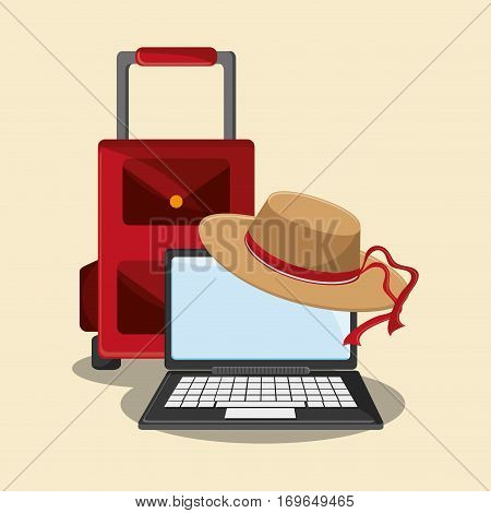 laptop computer, briefcase and hat icon . travel and tourism concept. colorful design. vector illustration
