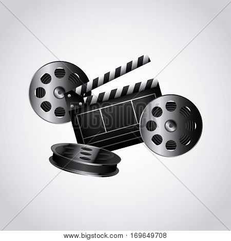 reel tape and clapboard icon over white background. colorful design. vector illustration