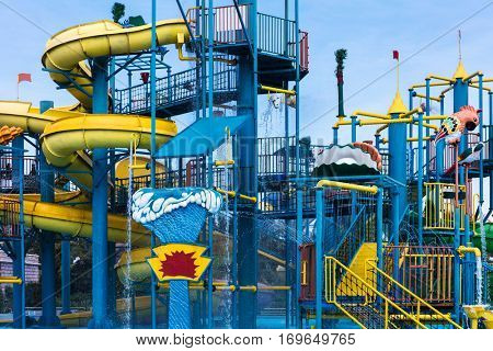 water slides and fountains in the aqua park.