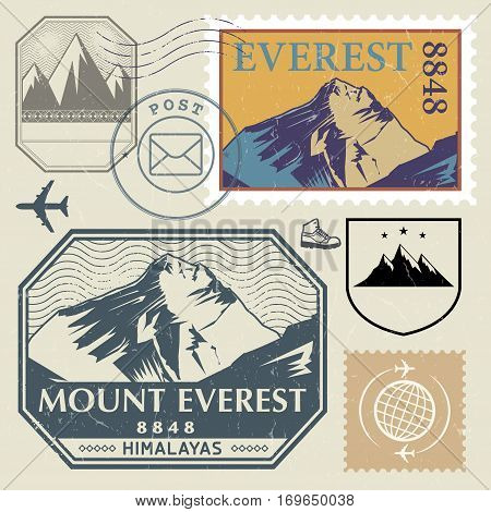 Post stamp set with the Mount Everest in the Himalayas outdoor expedition mountain adventure signs vector illustration