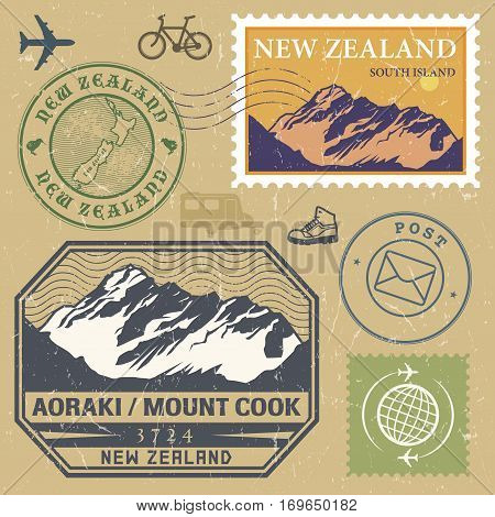 Post stamp set with Aoraki / Mount Cook is the highest mountain in New Zealand outdoor expedition mountain adventure signs vector illustration