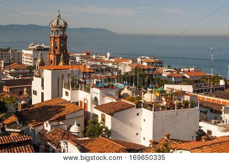 A rooftop view over downtown Puerto Vallarta