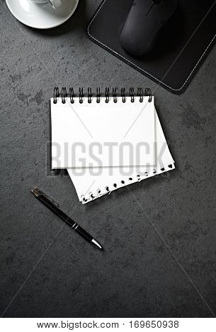 Work place with black and white tools