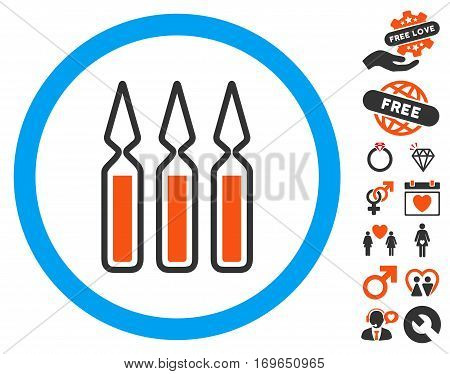 Ampoules pictograph with bonus romantic clip art. Vector illustration style is flat iconic symbols for web design app user interfaces.