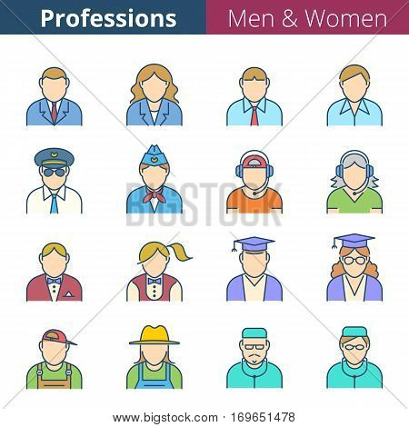 Flat line human avatar icon set. Man and woman professions and occupations. Suitable for infographics web social networks. Business people colorful vector avatar silhouettes.