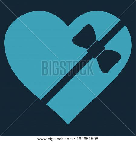 Tied Love Heart flat icon. Vector blue symbol. Pictogram is isolated on a dark blue background. Trendy flat style illustration for web site design logo ads apps user interface.
