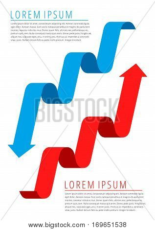 A pair of arrows represented increase profit and recession business. Flat thin line infographic template. Red progress arrow and blue recession arrow. Increase decrease graphs concept diagram chart.