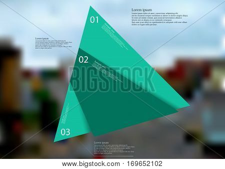 Illustration infographic template with motif of green triangle randomly divided to three sections. Blurred photo with motif od crossroad in the city with trees is used as background.