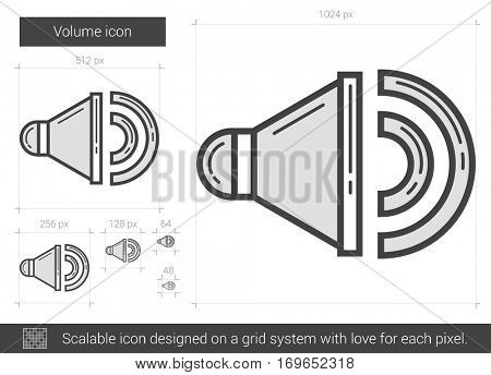 Volume vector line icon isolated on white background. Volume line icon for infographic, website or app. Scalable icon designed on a grid system.