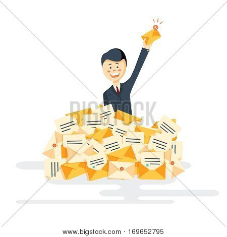 Businessman found right letter in a pile of emails. A lot of emails, spam, direct mail. Vector, illustration, flat
