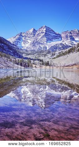 Maroon Bells Mountain Lake Landscape, Colorado, Usa.