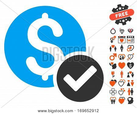 Approved Payment pictograph with bonus marriage icon set. Vector illustration style is flat iconic elements for web design app user interfaces.
