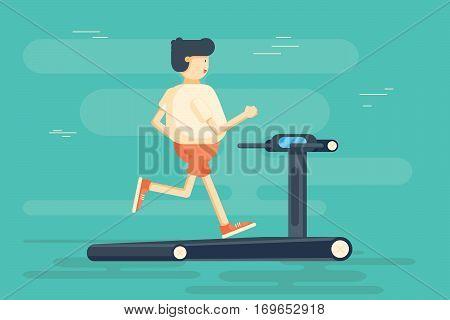 Man character runs on treadmill. Vector flat cartoon illustration. Cartoon fat man running on treadmill