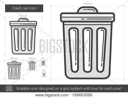 Trash can vector line icon isolated on white background. Trash can line icon for infographic, website or app. Scalable icon designed on a grid system.