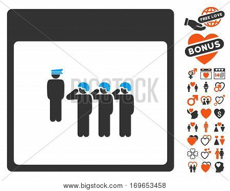 Army Squad Calendar Page icon with bonus dating pictograph collection. Vector illustration style is flat iconic symbols for web design app user interfaces.