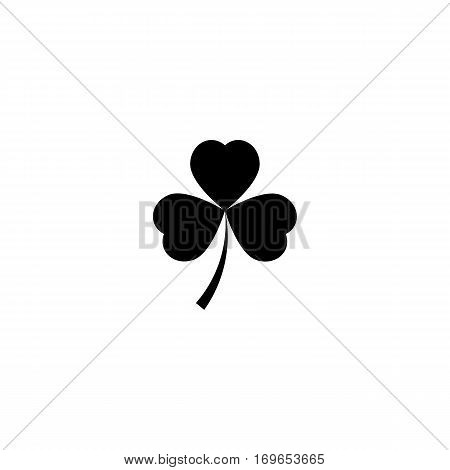 Shamrock silhouette for St. Patrick day design. Icon isolated on white background. Vector illustration.