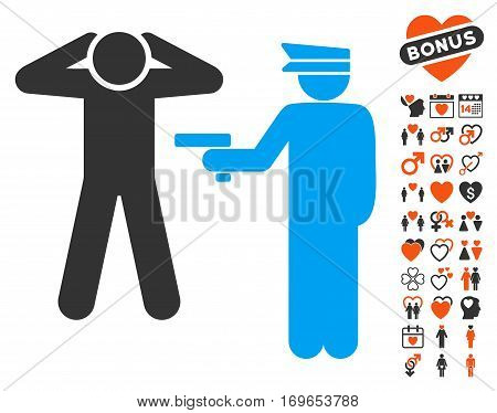 Arrest pictograph with bonus decoration pictures. Vector illustration style is flat iconic symbols for web design app user interfaces.