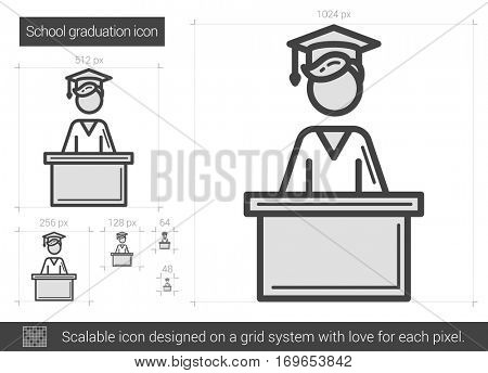 School graduation vector line icon isolated on white background. School graduation line icon for infographic, website or app. Scalable icon designed on a grid system.