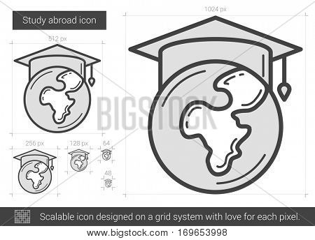 Study abroad vector line icon isolated on white background. Study abroad line icon for infographic, website or app. Scalable icon designed on a grid system.